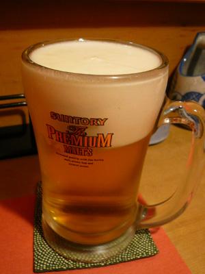炭火焼鳥・鶏割烹 新橋 山猿/サントリー ザ プレミアム モルツ 生ビール