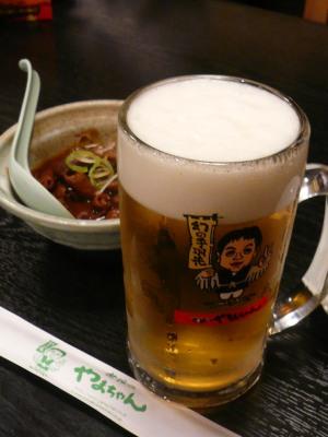 世界のやまちゃん 神田西口店「どて煮」と「生ビール」