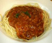 千葉天台・オールドスパゲティファクトリーの茄子とベーコンのミートソースのスパゲティ(セット)
