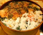 銀座3丁目・新湊 はま作の蟹・鮭わっぱ飯